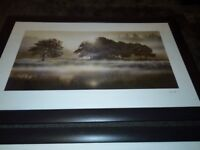 2 large leather framed pictures
