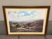 Lovely large mountain country cottage scene framed print art picture SDHC