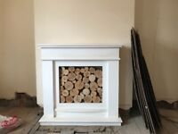 Ornamental fireplace with logs