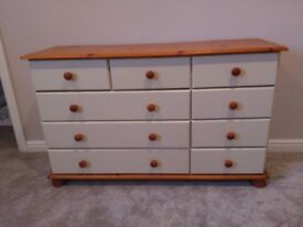 Pine 9 Drawer Chest Unit With 2 Bedside 3 Drawer Cabinets