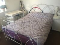 DOUBLE BED , FRAME AND NEARLY NEW MATTRESS