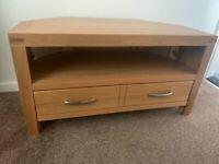 Oak Veneer Corner TV Cabinet