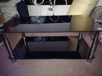 Black/Chrome Coffee Glass Table