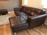 Free leather corner unit sofa - Taken pending collection