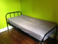 Cast Iron Single bed . Vintage Victorian; sturdy, easy to assemble will look fantastic cleaned up .