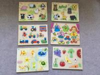 Six wooden baby/toddler puzzles
