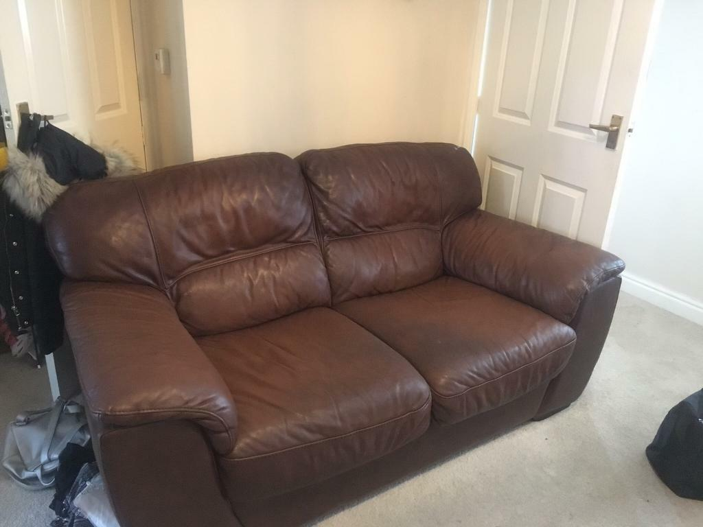 Large 3 and 2 seater Brown Genuine Leather Sofa