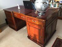 Double Directors' Desk, solid dark wood, beautiful condition