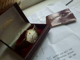 Men's quality rotary quartz 9 carat gold presentation watch 1988 box papers & insurance valuation