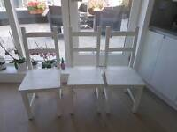 3 chairs with antique white finish
