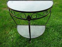 Metal framed glass topped iron semi circle table bathroom table garden