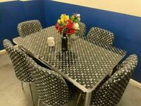 😍SOLID GLASS⭐ NEW EXTENDABLE DINING TABLE AND 6 CHAIRS WITH DELIVERY OPTIONS🚚🚚