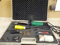 Leister hot air welder 110v + tools & spare element & 110v transformer + 24mt extension cable £250