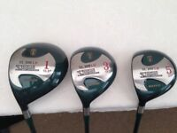 MENS - Left HANDED wOODS - 1 3 & 5 Woods with New Grips and Graphite shafts