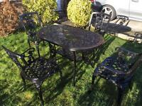 Large garden table & chars