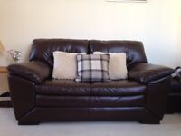 Pair of leather 2 Seaters plus storage foot stool