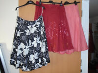 6 LADIES SKIRTS, SIZES 12 and 14, 3 BRAND NEW and 3 ONLY WORN ONCE PLUS OTHER LADIES & GENTS CLOTHES