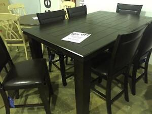 49% OFF-Until August 27, 2016. LARGE 7PC COUNTER HEIGHT SET. SET INCLUDES 2204DIN TABLE WITH BUTTERFLY LEAF AND 6 CHAI