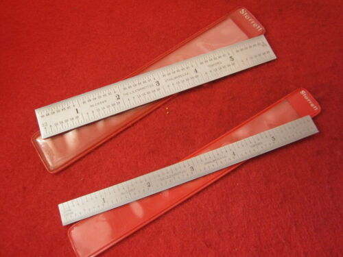 "Starrett 6"" rule lot W/sleeves C604R & C305R Satin chrome"