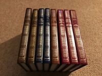 COLLINS LEATHER BOUND HARDBACK BOOKS COLLECTION OF 8 CLASSICS CLEAR TYPE PRESS