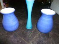 3 x Blue vases