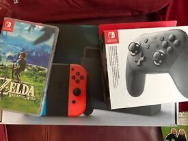 Nintendo Switch with Zelda and Pro Controller