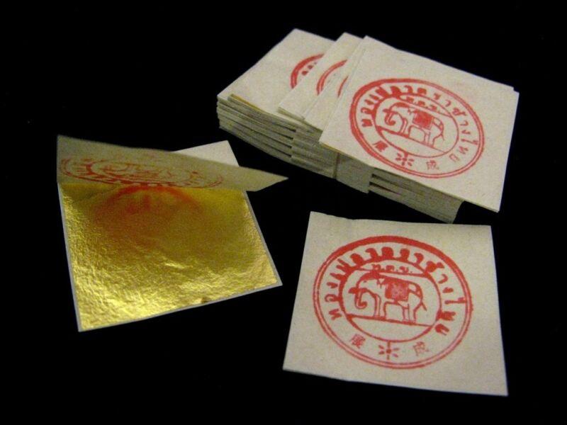 200 Sheet PURE GOLD LEAF 24K 999/1000 for AMULET Art GLIDING BUDDHA