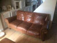 3 seater leather sofa and footstool