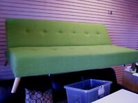 Clic Clac Sofa Bed Settee in Light Green fabric. Excellent Condition