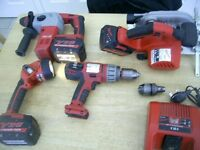 MILWAUKEE 28V POWER TOOLS CIRC SAW SDS DRILL COMBI HAMMER DRILL TORCH 3 BATTERIES AND CHARGER