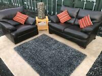 💥Luxury Barker & Stonehouse®️ Chunky Brown Italian Leather 2 Seater Sofa & Chair For Sale £225💥