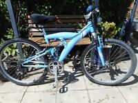 mans blue duel suspension 17 inch frame apollo entice bike with lock