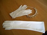 Vintage (over 50 years) Bridal/Evening Gloves each £1.50 & FREE Tiara