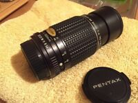Mint Pentax SLR lenses manual focus 135mm & 75-150mm clean optics.