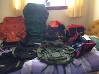 Selection of back packs/ trekking bags for sale