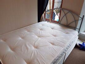 Double divan bed & metal headboard for sale