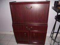 Vintage Style Cabinet / Bureau / Writing Desk Victorian Style Mahogony Effect Cabinet