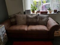 Two piece sofa set and footstool