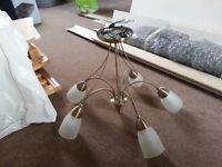 Ceiling Lights - 5 arm gold (two available)