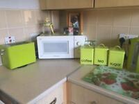 Green kitchen items