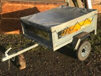 ERDE 122 Car Box Tipping Trailer & Cover - 4' x 3' - VGC & Ready for Work