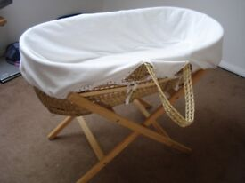 Moses Basket for sale with stand, base mattress and basket fleece cover