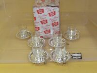 Set of 6 glass coffee cups with silver plated holders and saucers, Queen Anne style