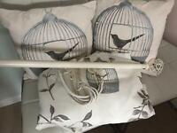 Next Birdcage Curtains, pole and cushions & tiebacks