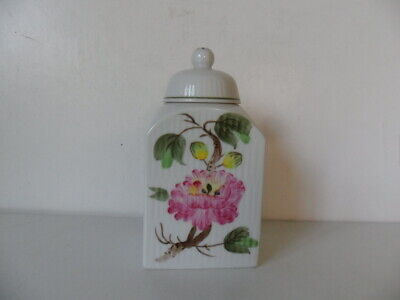 VERY RARE AUGUST WARNECKE [A W]  GERMANY TEA CADDY HYBISCUS  HAND PAINTED