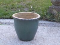Large Turquoise Ceramic Garden Planter Garden Pot with Crimped Rim 26cm Tall