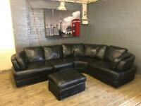 SOFAOLOGY BLACK LEATHER CORNER SOFA IN NICE CONDITION