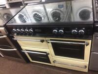 Black & cream rang master 100cm gas cooker grill & double ovens good condition with guarantee