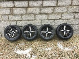 Alloy Wheel Rims and Tyres (Ford Fiesta, Focus etc.) - Nearly New (Black / Silver)