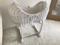 Moses basket and stand white used for a few months